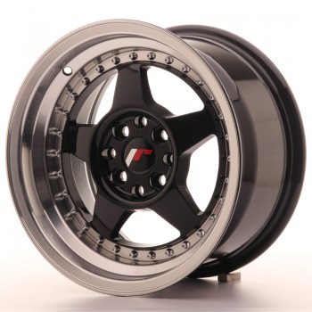 JR Wheels JR6 15x8 ET25 4x100/108 Gloss Black w/Machined JR6 15