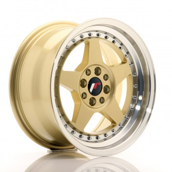 JR Wheels JR6 16x8 ET25 4x100/108 Gold w/Machined Lip JR6 16