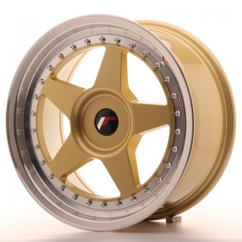 JR Wheels JR6 17x8 ET20-35 BLANK Gold w/Machined Lip JR6 17