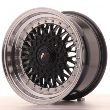 JR Wheels JR9 15x8 ET20 4x100/108 Gloss Black w/Machined Lip JR9 15