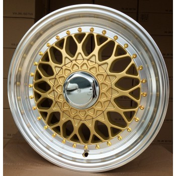 R15X8 8X100/114.3 ET20 73.1 BY479 (LU247) (2471580302U) GOLD+ polished lip (MIGO) RWR style BBS (+5 EUR) (K3)