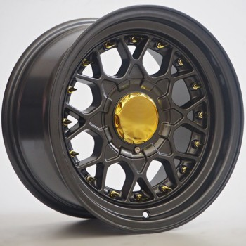 Disks RKW07 8,0X15 4X100/114,3 ET10 73,1 Dark Grey/ Gold Rivets