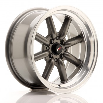 JR Wheels JR19 16x8 ET0 4x100/114 Gun Metal w/Machined Lip JR19 16